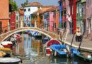 Бурано остров в Италии (Венеция).